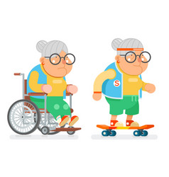Granny wheelchair sports healthy active lifestyle vector