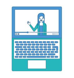 Influencer waving hand video content on screen vector