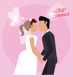 Just married couple holding hand love vector