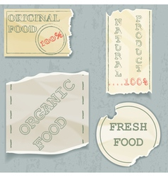 Labels of natural food on scraps of the old paper vector image vector image