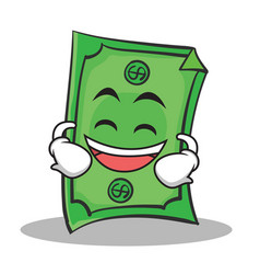 Laughing face dollar character cartoon style vector