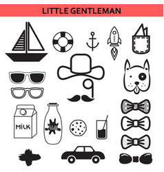 Little gentleman outline icons vector