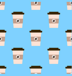 seamless pattern with cups of coffee to go on a vector image vector image