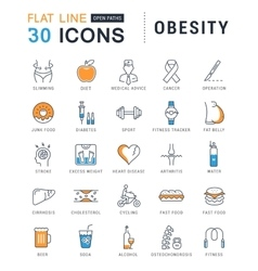 Set flat line icons obesity vector