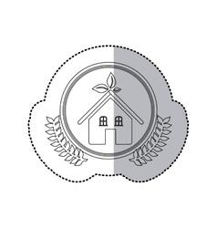 Sticker monochrome half shadow and house in round vector