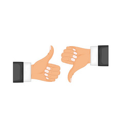 two hands showing thumb up and thumb down signs vector image
