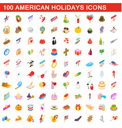 100 american holidays cons set isometric 3d style vector