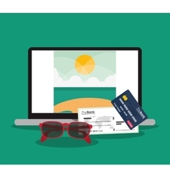 Beach laptop glasses credit card vector