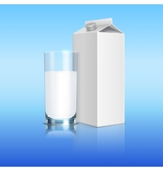 Milk pack and glass of beverage template vector