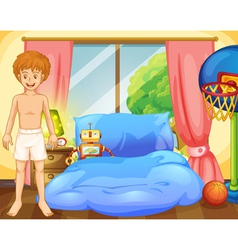 A boy inside his room with a robot and a vector image