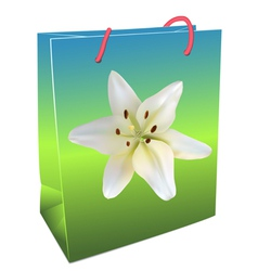 Shopping bag with lily vector