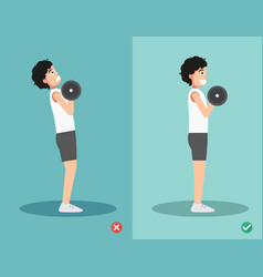 Man wrong and right dumbbell curl posture vector
