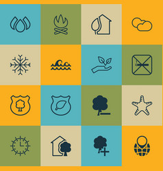 Set of 16 eco-friendly icons includes insert vector
