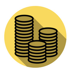 money sign flat black icon vector image