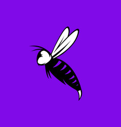 Agressive bee or wasp mascot design template vector