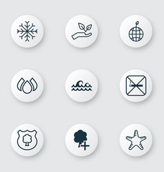 Set of 9 eco icons includes cigarette insert vector