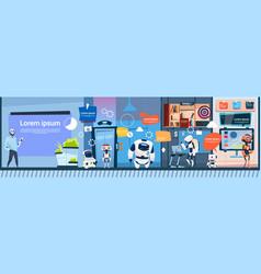 Modern office business robots group working vector