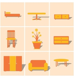 Colored icons furnniture vector
