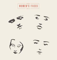 Women s faces contours paintbrush sketch vector