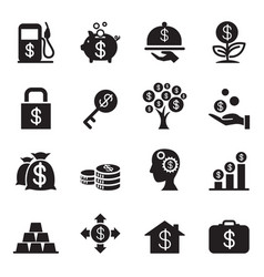 Silhouette financial investment icons set vector