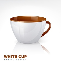 White cup with brown elements vector image