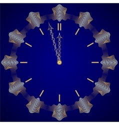 Abstract new year golden clock on dark blue vector