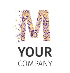 Alphabet particles logotype Letter-M vector image
