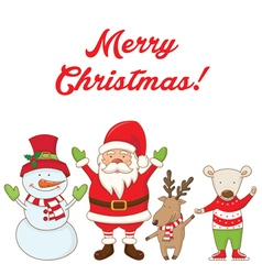 Christmas characters and the words merry christmas vector