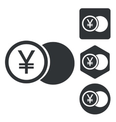 Yen coin icon set monochrome vector