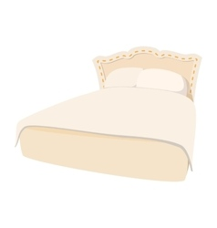 Luxury double bed cartoon icon vector