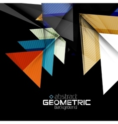 Color geometric shapes on black background vector