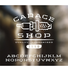 Stencil plate serif font hand drawn vector