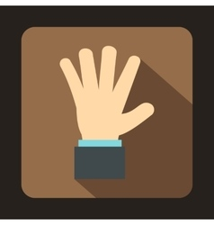 Hand showing five fingers icon flat style vector