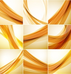 Abstract background set Golden waves on light vector image
