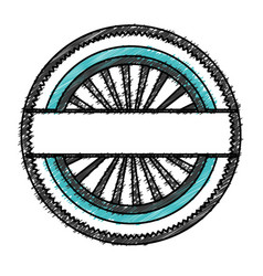 color pencil circular shape stamp with striped vector image
