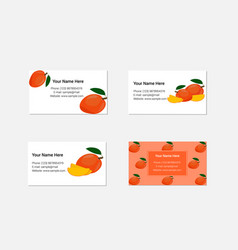 design of business cards with yummy mango vector image vector image
