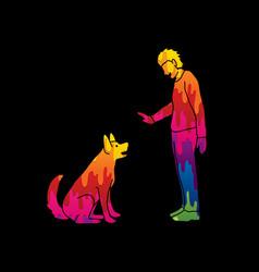 Dog training a man training a dog vector