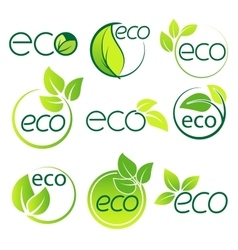 Ecology logo symbol set vector