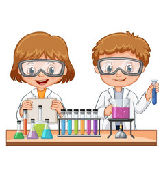 girl and boy doing science experiment vector image vector image