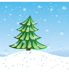 Green fir tree on slope vector