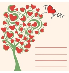 Greeting card love tree vector