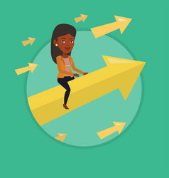 Happy business woman flying to success vector