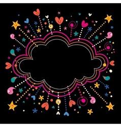 happy fun star bursts cartoon cloud shape banner vector image
