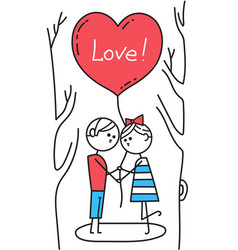 happy valentines card guy and girl kiss in park vector image