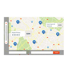 infographic of city map navigation with pins vector image