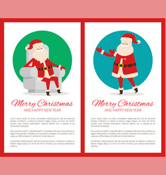 Merry christmas happy new year poster with santa vector
