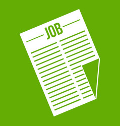 newspaper with the headline job icon green vector image