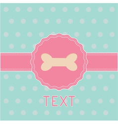 Pink ribbon and label with bone Card vector image vector image