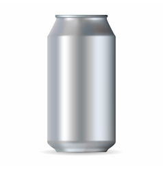 Realistic silver aluminum can vector