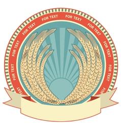 retro wheat label vector image vector image
